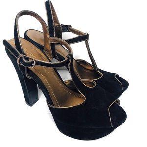 BCBG black suede platform heels sandals shoes 6.5
